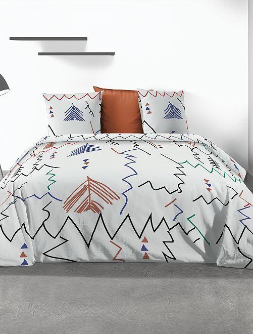 Juego de cama doble estampado                             blanco