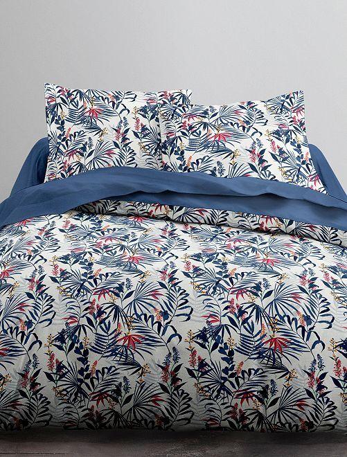 Juego de cama doble estampado                             blanco/azul