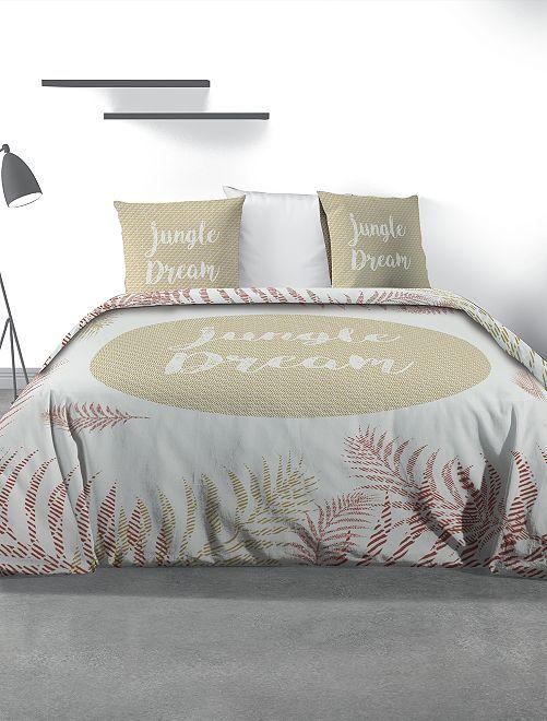 Juego de cama doble estampado                             blanco/beige