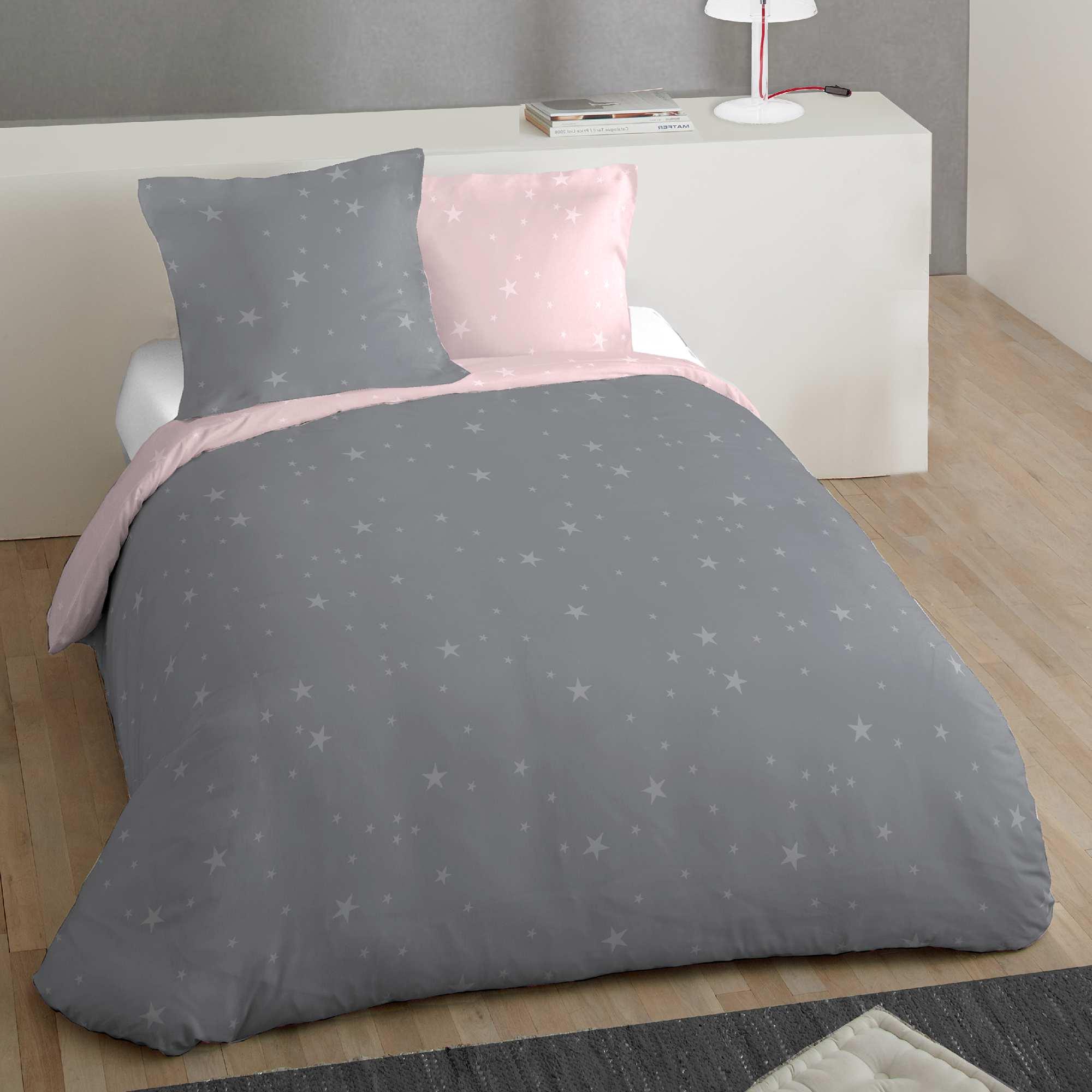 Juego de cama doble estampado 39 estrellas 39 hogar gris - Doble cama para ninos ...