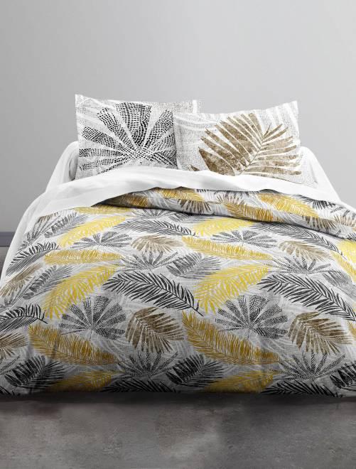 Juego de cama doble estampado 'hojas'                             blanco/amarillo Hogar