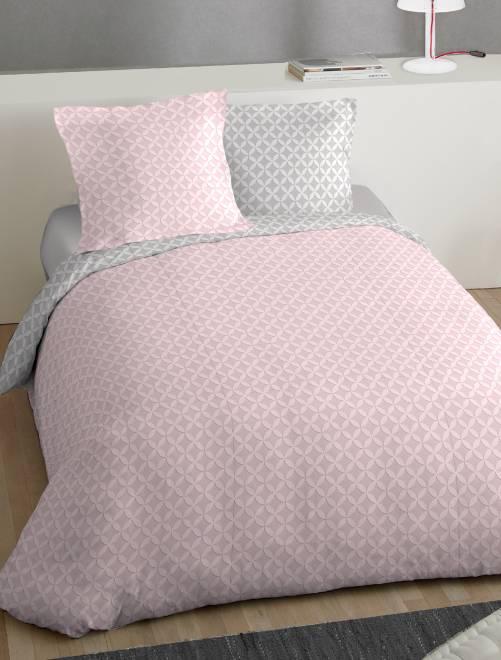 Juego de cama doble estampado 39 roset n 39 hogar rosa for Cama doble nina
