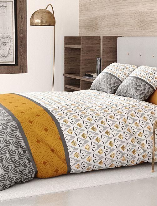 Juego de cama doble                             gris/amarillo
