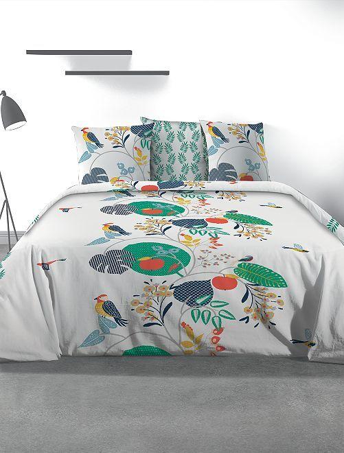 Juego de cama doble 'hojas'                             blanco