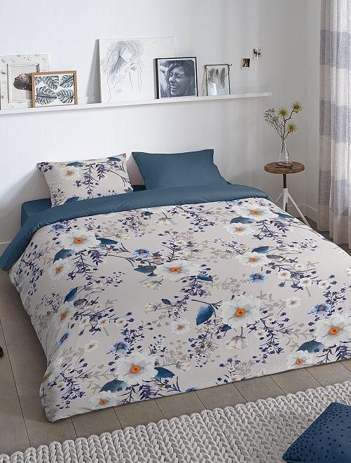 Juego de cama doble reversible de flores                             gris/marino