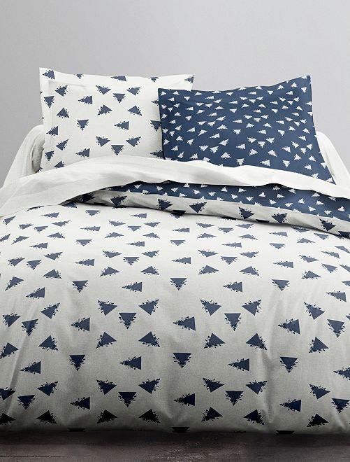 Juego de cama doble 'triángulos'                             blanco/azul