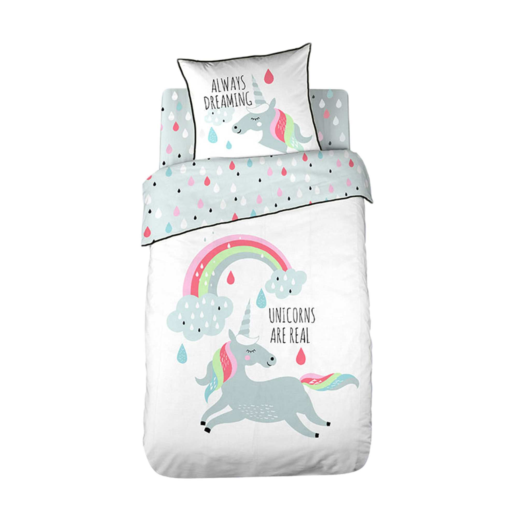 Juego de cama estampado 39 unicornio 39 hogar blanco kiabi for Cama unicornio
