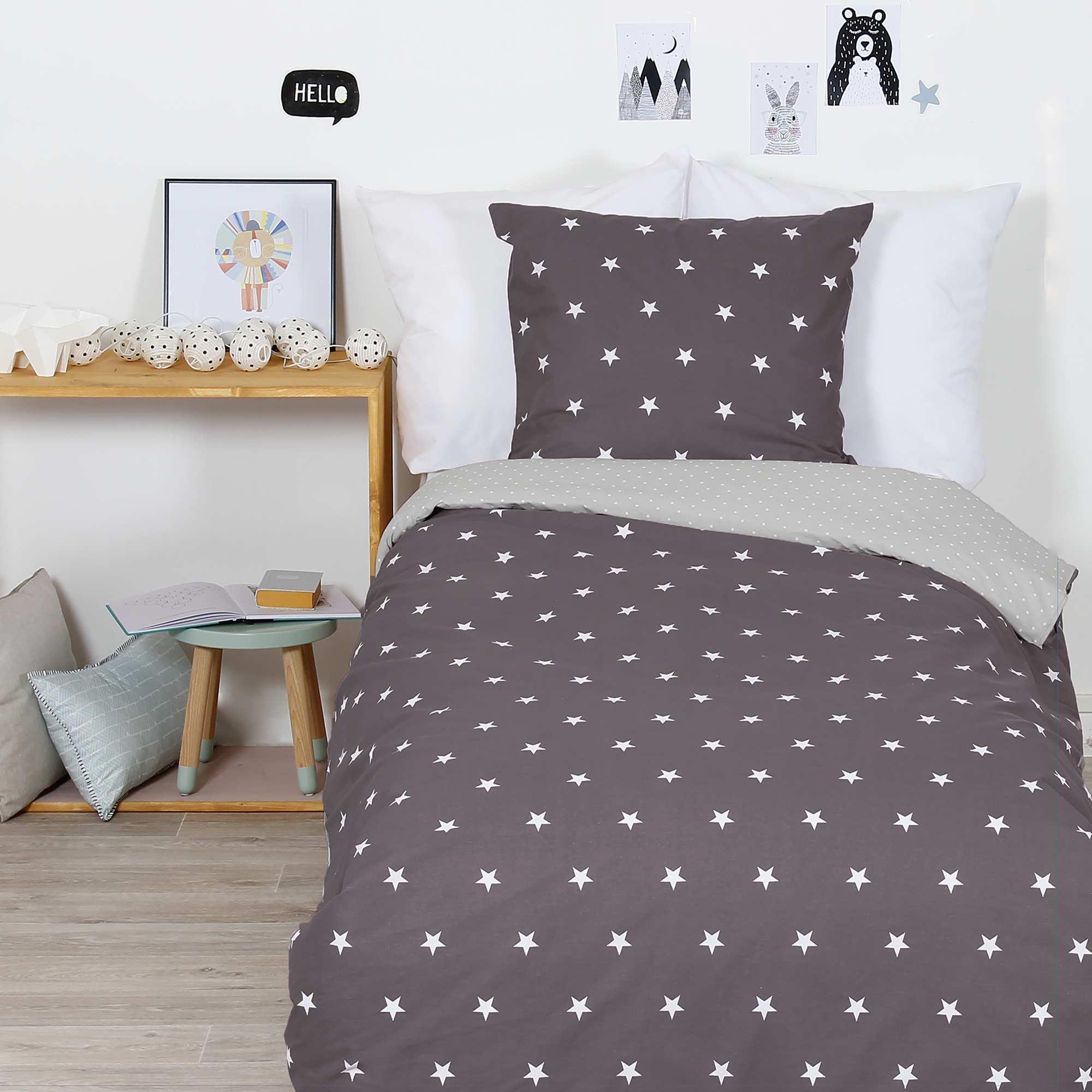 Juego de cama 39 estrellas 39 hogar gris beige kiabi 25 00 - Kiabi hogar ...