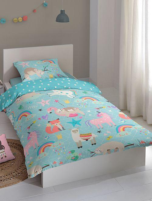 Juego de cama individual 'animales'                             azul