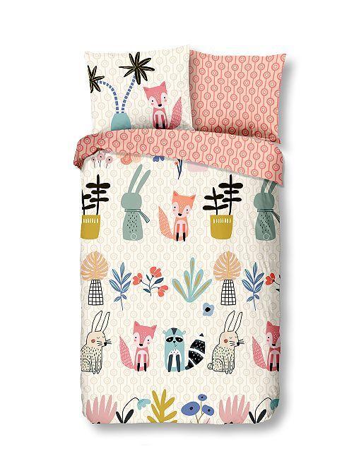 Juego de cama individual 'animales del bosque'                             rosa