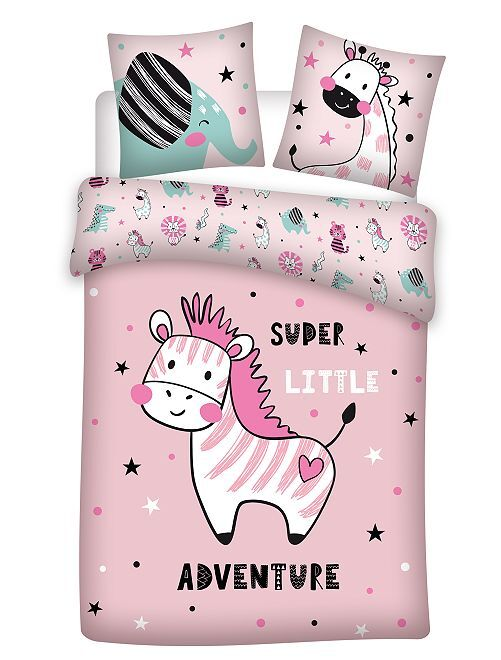 Juego de cama individual 'animales'                             rosa