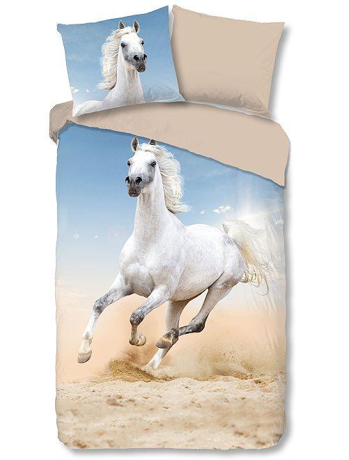 Juego de cama individual caballo                             azul/blanco Hogar