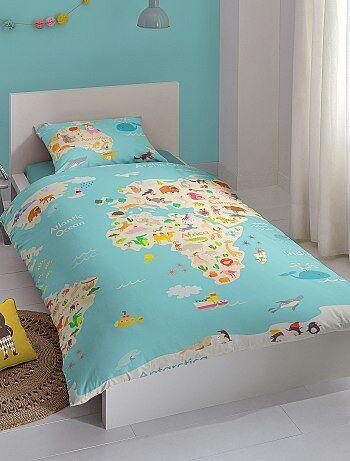 Juego de cama individual con estampado 39 mapamundi 39 hogar azul kiabi 25 00 - Kiabi hogar ...