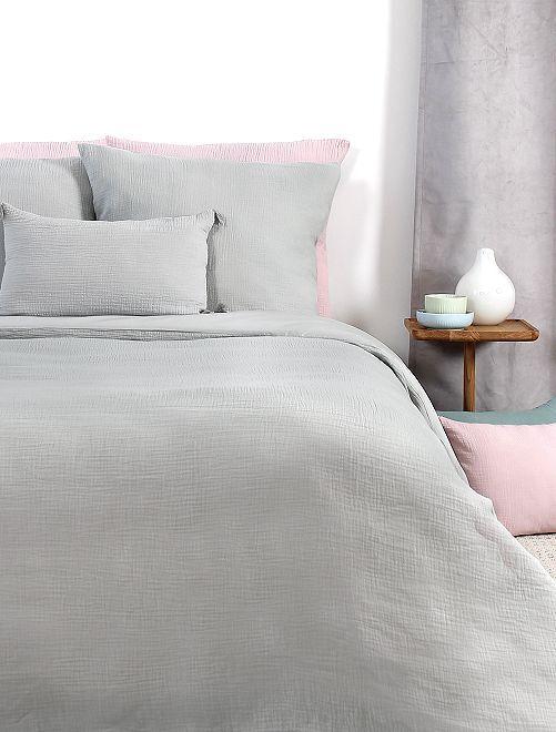 Juego de cama individual de gasa de algodón                             gris