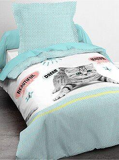 Ropa de cama infantil - Juego de cama individual de gato