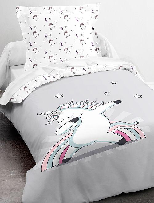 Juego de cama individual de 'unicornio'                             blanco/gris