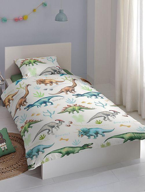 Juego de cama individual 'dinosaurio'                             blanco