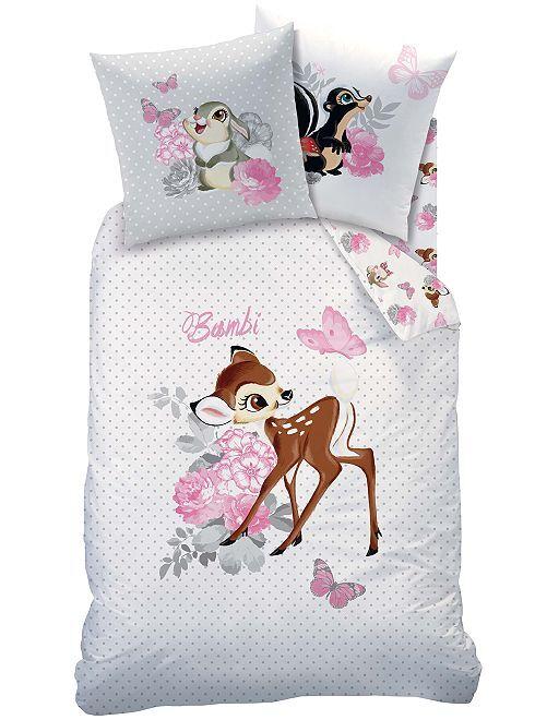 Juego de cama individual estampado 'Bambi'                             blanco