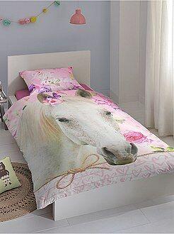 Ropa de cama infantil - Juego de cama individual estampado 'caballo' - Kiabi