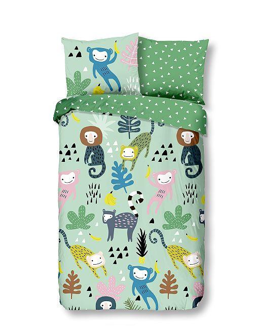 Juego de cama individual 'monos'                             verde