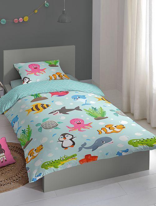 Juego de cama individual 'mundo marino'                             azul