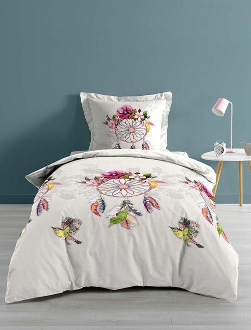 Juego de cama individual o doble 'atrapasueños'                             blanco/rosa/ Hogar