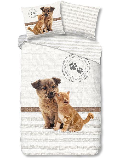 Juego de cama individual 'perro y gato'                             blanco Hogar
