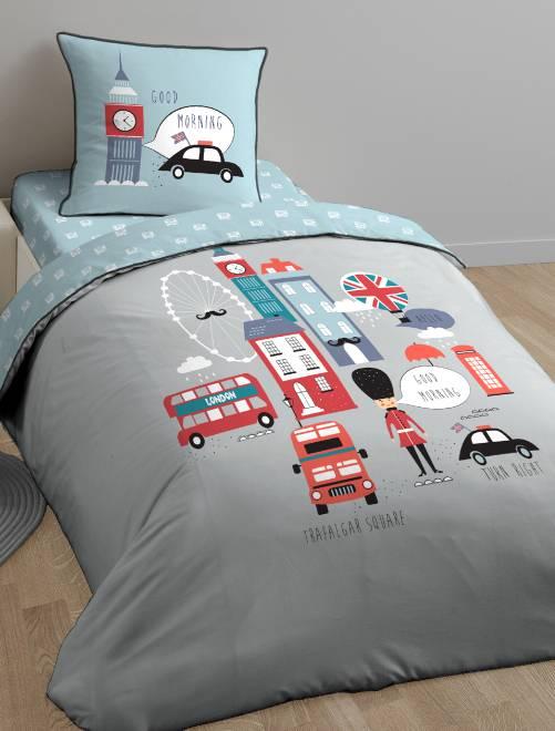 Juego de cama individual reversible 'British'                             gris Hogar