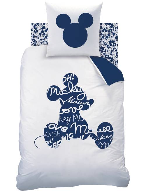 Juego de cama individual reversible 'Mickey'                             blanco/azul Hogar