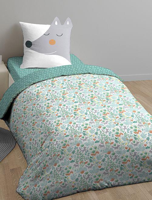 Juego de cama individual reversible                             verde