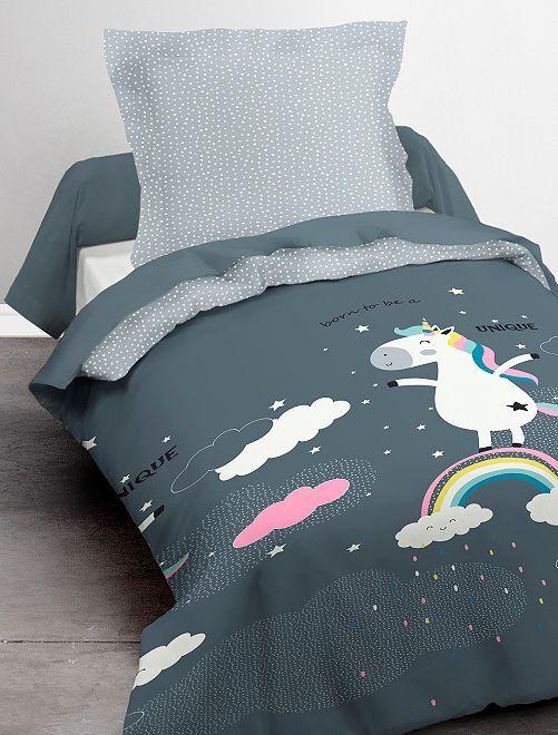 Juego de cama individual 'unicornio'                             azul
