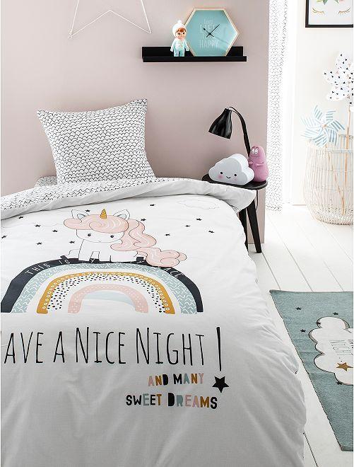 Juego de cama individual 'unicornio'                             blanco