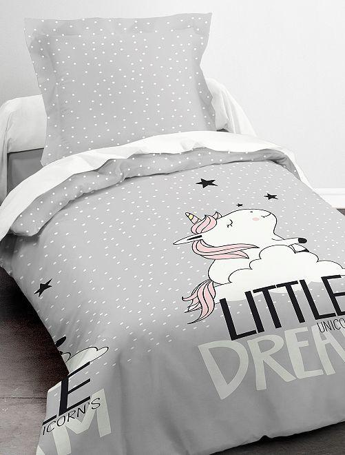 Juego de cama individual 'unicornio'                             gris