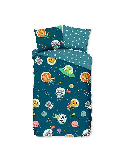 Juego de cama infantil 'animales astronautas'                             azul marino