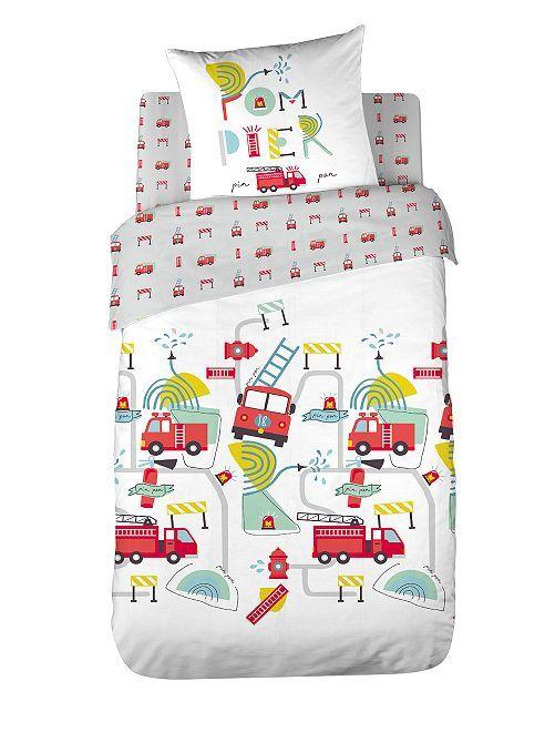 Juego de cama infantil 'bomberos'                             blanco