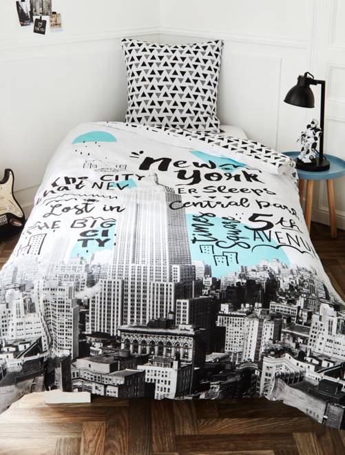 Juego de cama 39 nueva york 39 hogar blanco kiabi 20 00 - Kiabi hogar ...