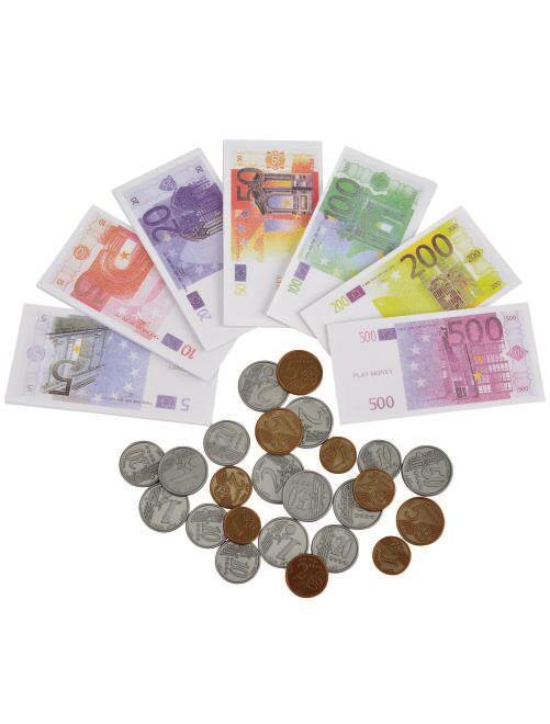 Juego de monedas y billetes                             blanco