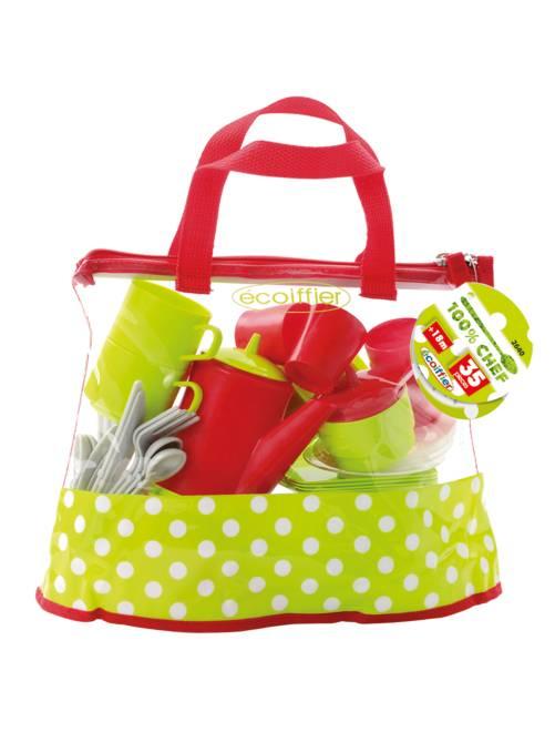 Kit comiditas con 35 piezas 'Ecoiffier'                             verde/rojo Chica