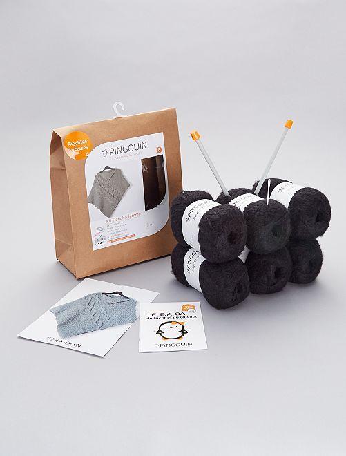 Kit de punto - Poncho para mujer 'PINGOUIN'                                         NEGRO
