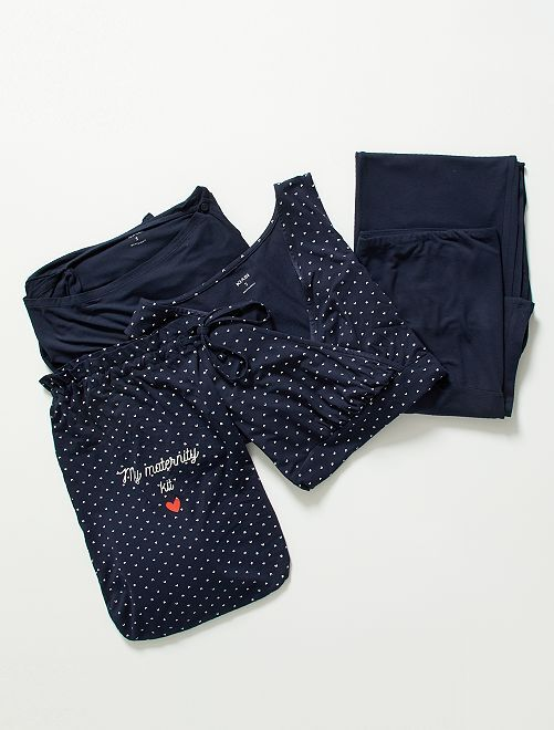 Kit premamá camiseta + chaleco + pantalón                                                                 AZUL