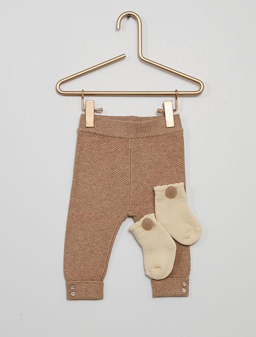 Legging + calcetines eco-concepción                                         MARRON