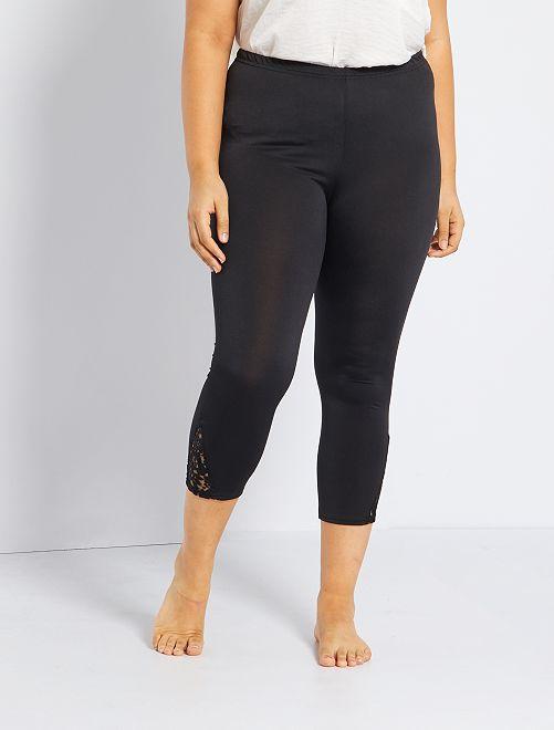 Legging con detalle de encaje                             negro