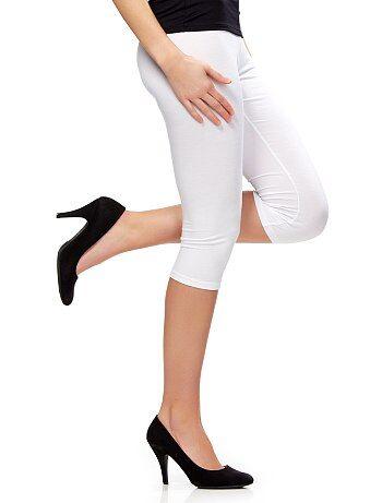 Legging corto stretch                                                                                                                                                                                                                                                     blanco brillante Mujer