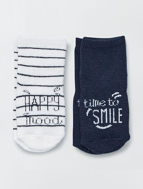 Lote de 2 pares de calcetines de punto de rizo                                         AZUL