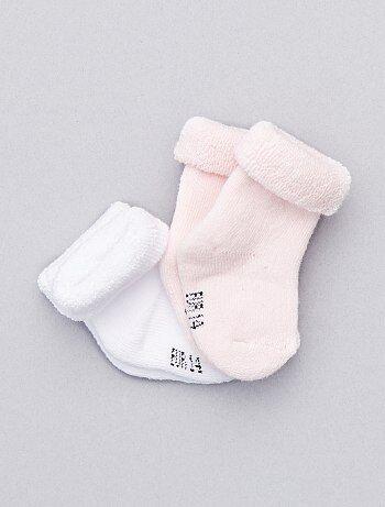 Lote de 2 pares de calcetines de punto de rizo                                                                 blanco/rosa Bebé niña