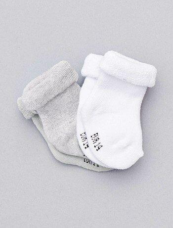 Lote de 2 pares de calcetines de punto de rizo                                                                 gris Bebé niño