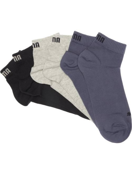 Lote de 3 pares de calcetines tobilleros 'Puma' de caña corta                                                                             azul/gris/blanco