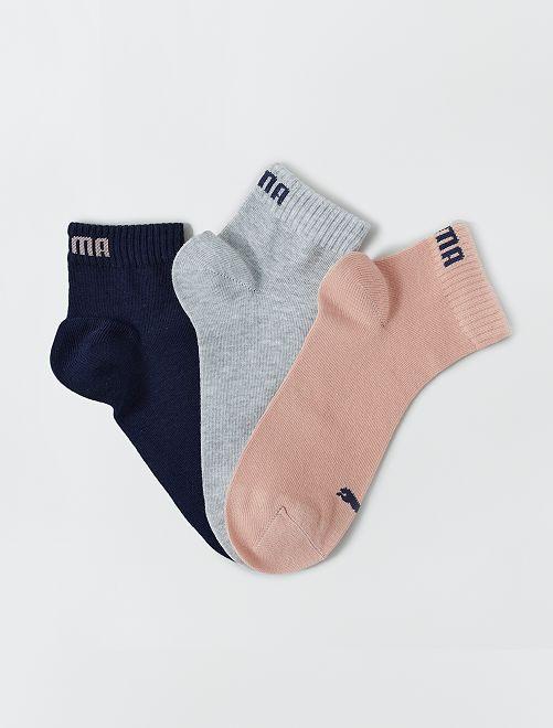 Lote de 3 pares de calcetines tobilleros 'Puma' de caña corta                                                                                                     ROSA