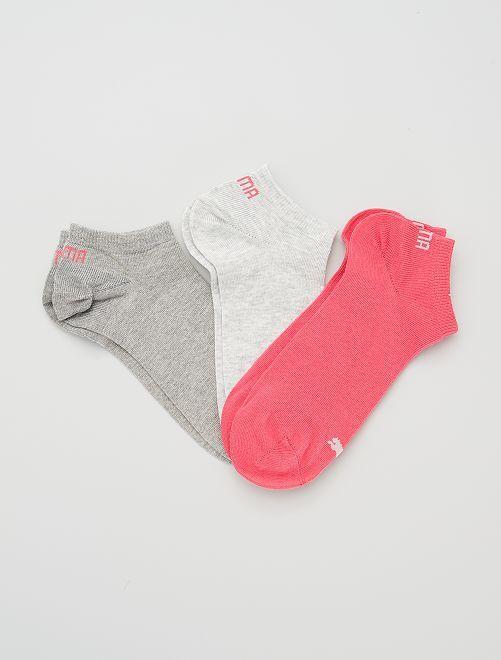 Lote de 3 pares de calcetines tobilleros 'Puma'                                                                             GRIS/rosa