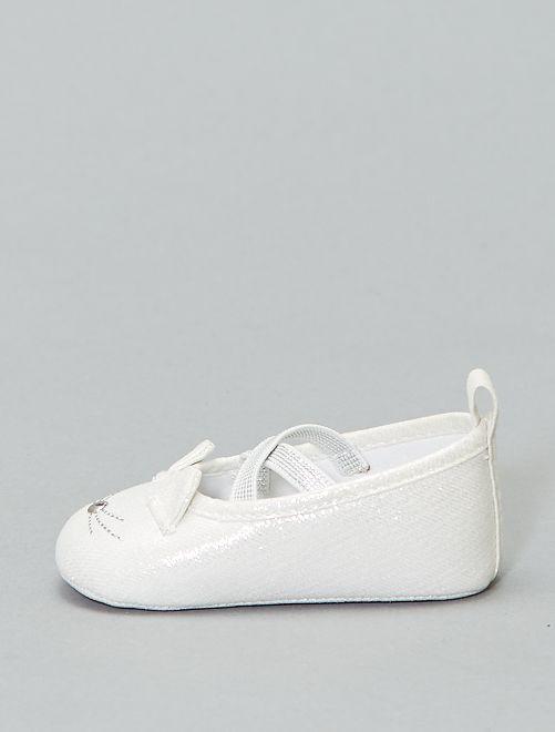 Manoletinas brillantes 'cabeza de gato'                             blanco plata Zapatos